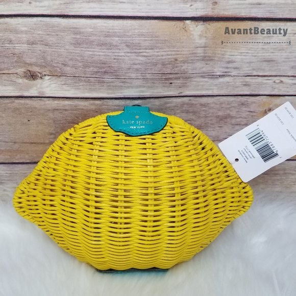 Kate Spade Lemon Zest Wicker Crossbody Yellow New